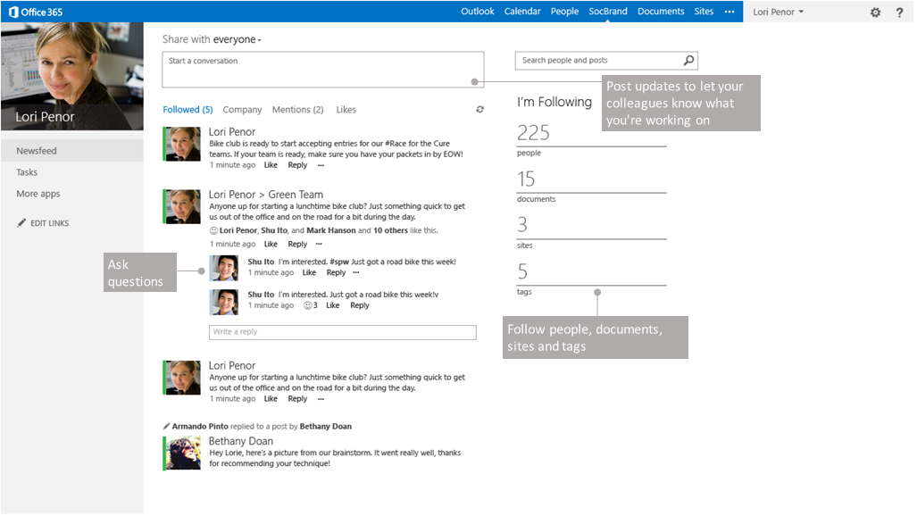 SharePoint social features
